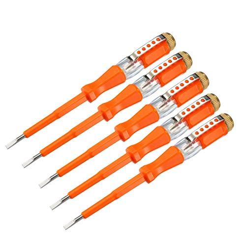 Comprobador de tensión AC 100-500V con destornillador de ranura de 3 mm con clip para prueba de circuito, naranja, paquete de 5