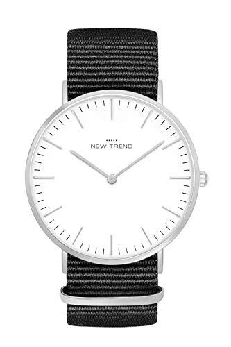 New Trend Unisex Armbanduhr Silber Damen-Uhr Herren-Uhr, Analog Uhr, Quarz-Uhr, Textil-Armband, Nylon-Armband, NATO-Armband, Metall-Armband, Edelstahl-Armband (Schwarz)