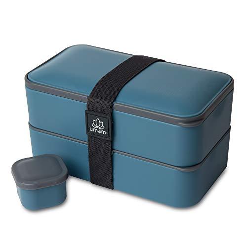UMAMI® ⭐ Premium Bento Lunch Box con Vaschetta Condimento & 3 Posate - Porta Pranzo Ermetico a 2 Scomparti - Pasti A Casa / A Lavoro - Zero Waste - Microonde e Lavastoviglie - No BPA - Garanzia 5 anni