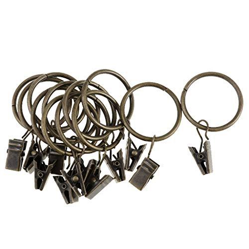 LOVIVER 12 Stücke Überzogene Vorhänge Vorhang Metall Ringe Mit Clips, 25mm / 32mm - Bronze 32mm