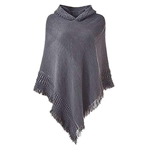 FXYY vrouwen gebreide capuchon poncho trui, elegante capes gehaakte ponchos trui sjaals wraps met franjes zoom
