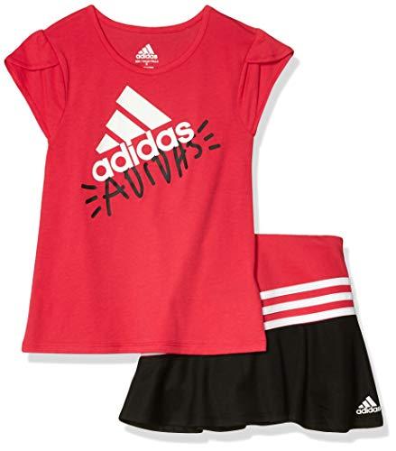 adidas Girls' Little Sporty Top & Skort Clothing Set, Pink, 6
