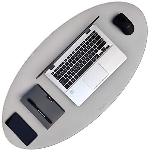 Woollo Moda Ovale - Tappetino per mouse da scrivania, 90 x 45 cm, in pelle PU, impermeabile, per computer portatile, per ufficio o casa, double face (grigio/argento)