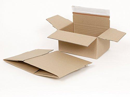 100 Automatikboden Kartons SONDERPOSTEN   Fix-Aufrichtekarton DIN A5   Automatik Karton mit variabler Höhe  Ausgangsmaße 235 x 170 x 125 mm   Faltkarton mit selbstklebendem Deckel und Aufreißfaden