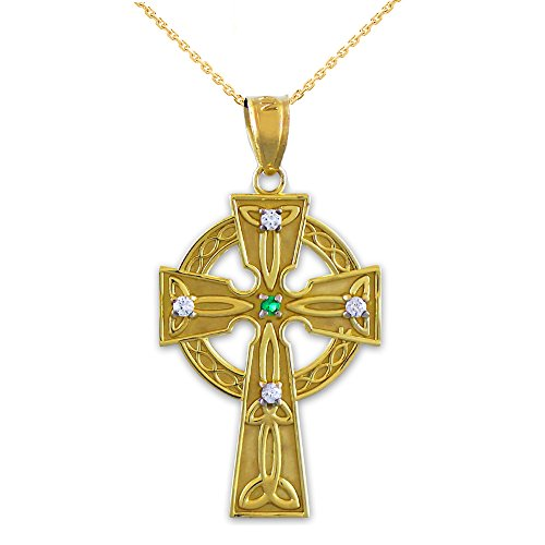 14k Yellow Gold Celtic Trinity Diamond Cross Pendant Necklace with Emerald, 20'