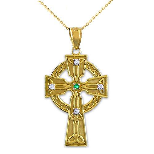 10k Yellow Gold Celtic Trinity Diamond Cross Pendant Necklace with Emerald, 18'