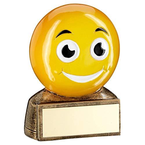 Lapal Dimension BRZ/Yellow - Trofeo con Figura de Emoji Sonriente, 7 cm