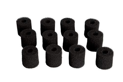 LTWHOME Compatible Mousse Carboné de Filtre Tapis Convient pour Eheim 2628080 Aquaball 2208 2210 2212/60 130 180,Biopower 160 200 240 (Paquet de 12)