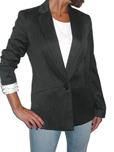 icecoolfashion Womens Smart op maat 1 Knop Blazer Jas Pinstripe Zwart 8-12