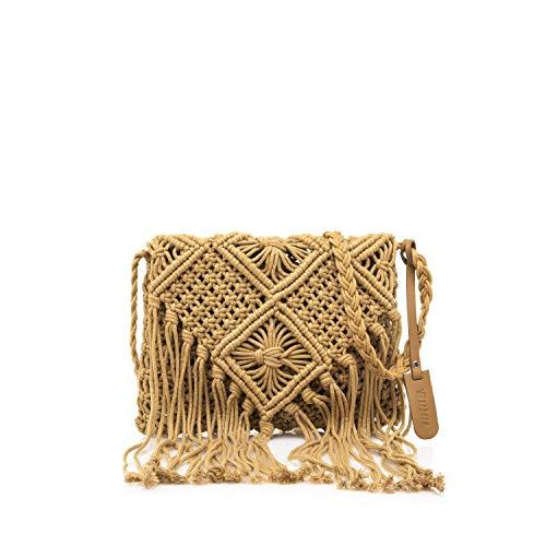 MTNG IRIA, Bolso bandolera para Mujer, Marrón (Crochet Camel), 3x18x24 cm (W x H x L)