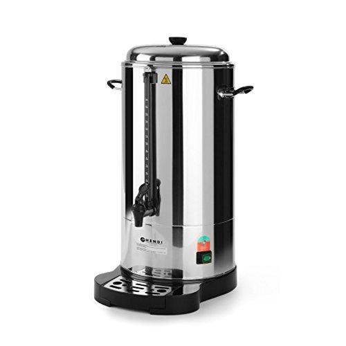 HENDI Kaffee-Perkolator, Doppelwandig, Energiesparend, eingebauter Filterwanne, non drip Hahn, für grob gemahlen Kaffee, kein Papierfilter notwendig, 10L, 230V, 1500W, ø288x(H)530mm, Edelstahl 18/0
