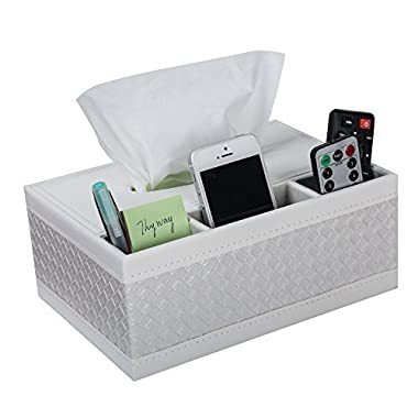 ThyWay Multifunction PU Leather Pen Pencil Remote Control Tissue Box Cover Holder Desk Storage Box Container for Home and Office Use (White)