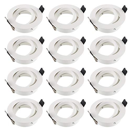 SEBSON Einbaustrahler rund schwenkbar 12er Pack, Alu weiß, Einbaurahmen Lochdurchmesser 75mm, Decken Spot inkl. GU10 Fassung für LED/Halogen