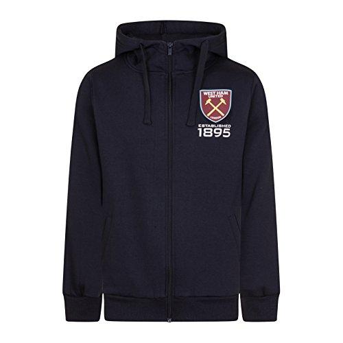 felpa west ham united uomo Felpa originale West Ham United FC - con zip e cappuccio - uomo - Blu navy - Medium