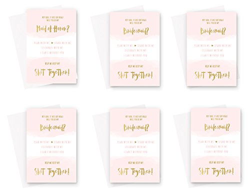 Will You Be My Bridesmaid Cards (6 Pack) Asking my Maid of Honor Proposal Invites Blush and Gold