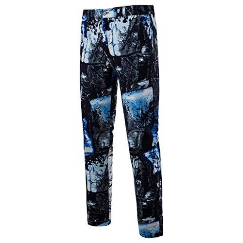Heren Jogger Cargo Chino jeans broek elastische heupband met zakken Slim Vintage Ethnic Style rechte cilinderbroek business broek Large blauw