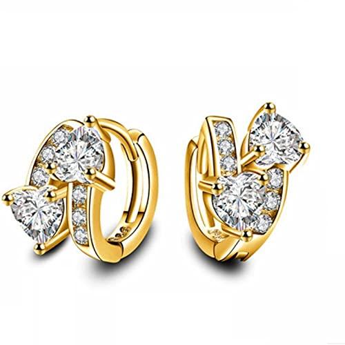 Pendientes femeninos Joyas de lujo Piedras de circón Pendientes de aro de corazón para mujeres Accesorios de fiesta Oro