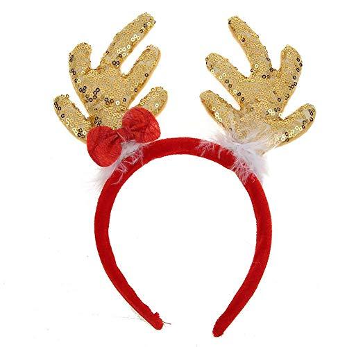 Demiawaking Cerchietto per Capelli Natale Cerchietto Divertente con Corna di Renna Glitterate Fascia per Capelli Natalizia per Adulti e Bambini Costume Decorazione per Feste Natale (Oro)