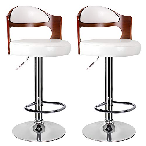 Bar Stools Set of 2,White Bar Stool for Kitchens with Padded Backrest&Chrome Footrest Swivel Gas Lift Teak Leather Breakfast Bar Stool for Diningroom/Counter/Kitchen Home Furniture