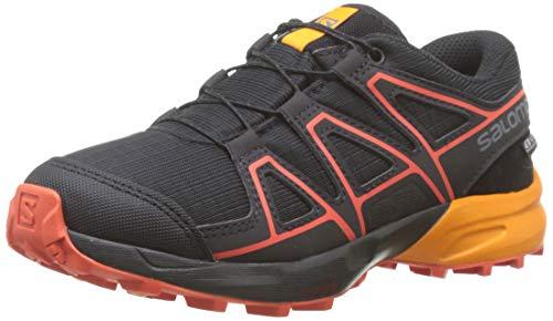 Salomon Kinder Trail Running Schuhe, SPEEDCROSS CSWP J, Farbe: schwarz/orange (Black/Tangelo/Cherry Tomato), Größe: EU 33