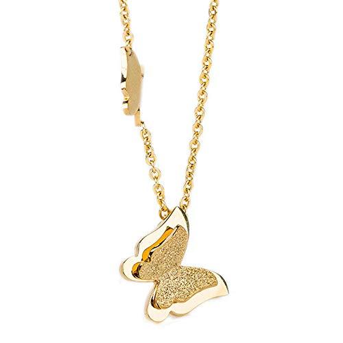Collar Colgante Joyería Collar Llamativo De Mariposa De Acero Inoxidable De Color Dorado Rosa Vintage A La Moda para Mujer-40605_40Cm
