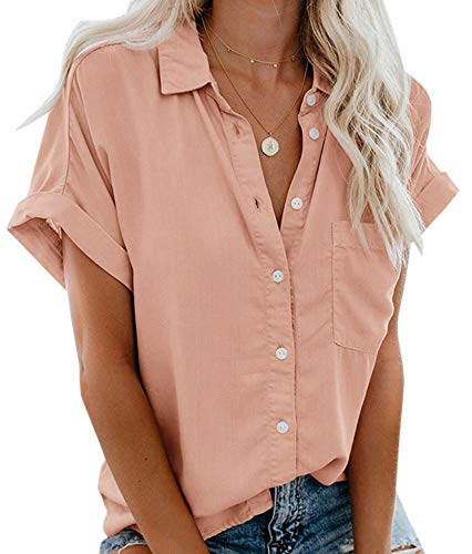 Womens Summer Button Down Shirts Pocket Short Sleeve Blouse Military Utility Tops