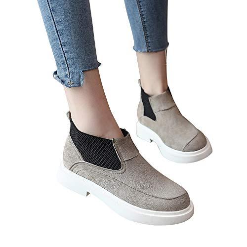 OSYARD Damen Stiefeletten Kurze Boots Comfort Basic Pumps Freizeit Loafers, Frauen Runde Kappe Shoes Einfarbig Flache Schuhe Martain Booties Wildleder Slip-On Stiefel(220/35, Grau)