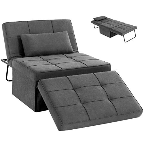 HOMHUM Folding Ottoman Sleeper Bed 4-in-1 Convertible Sofa/Chair/Guest Bed/Ottoman with 5-Level Adjustable Backrest, Footstool for Living Room or Bedroom, Dark Grey