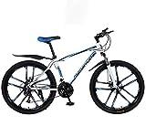 Bicicleta de montaña de 26 pulgadas y 21 velocidades para adultos, cuadro completo de acero al carbono ligero, suspensión delantera de rueda, bicicleta para hombre, bicicleta de montaña con freno de