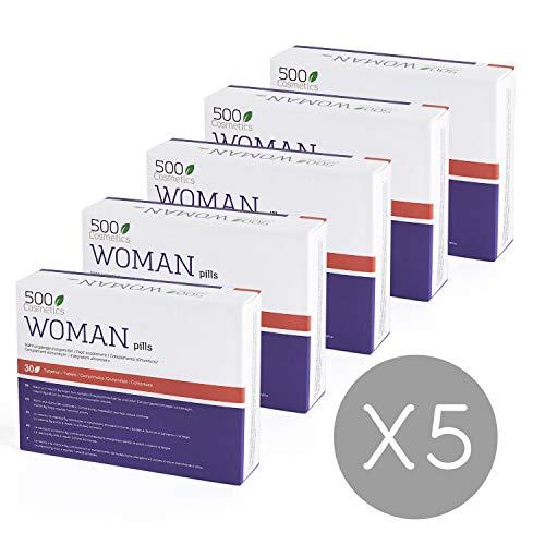 500Cosmetics Woman–Tabletas Naturales Para Aliviar los Síntomas de la Menopausia, Regulación Hormonal y Aumento de la Líbido-Ingredientes Naturales-1 toma diaria-Fabricado y Registrado en la UE (5)