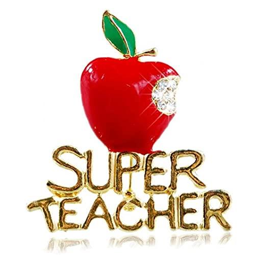 TOSSPER Brosche-Perlen-Diamant-Geschenk-Kristall Apple-Pin Ornament Red