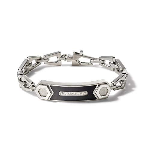 Bulova Mens Precisionist Stainless Steel Tuning Fork Chain Link ID Bracelet, White Diamond Accents ((Model J96B002M), Silver-Tone, Medium