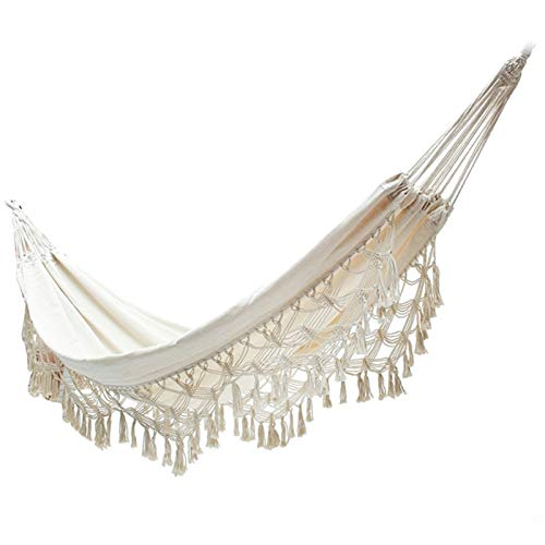 Earthily Hammock Hanging Chair, Outdoor Backyard Leisure Canvas Sleeping Hanging Hiking Camping Portable Foldable Tassel Double Hammocks (Color : A)
