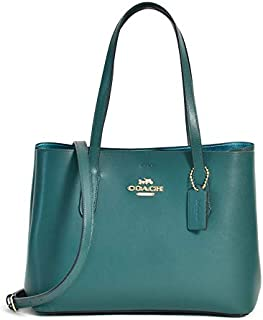 Coach Women's Avenue Carryall Cross-body Bag, Leather Material - Metallic Sea Green