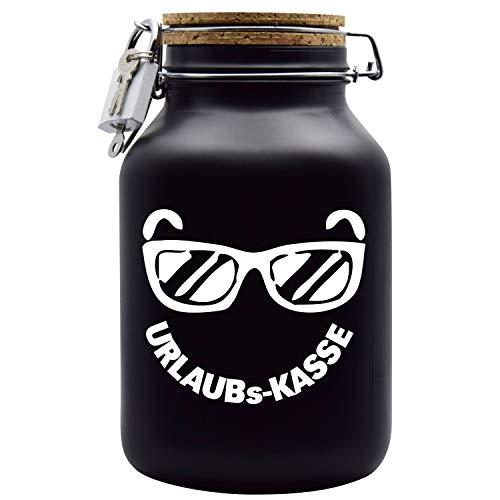 Spardose Urlaubs-Kasse mit Korkdeckel in Schwarz XXL