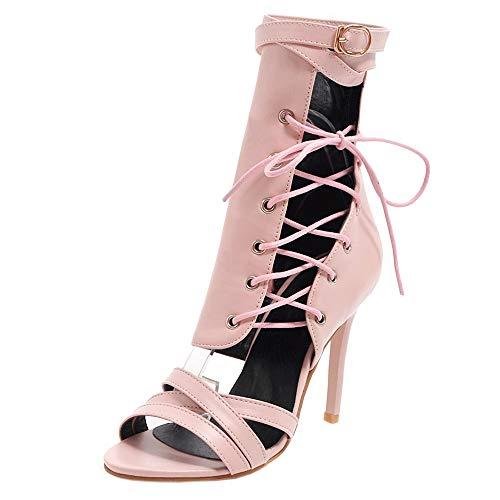 BeiaMina Damen Gladiator Sandals High Heels Sommer Stiefel Party Peep Toe Sandalen Stiletto Pink Gr 39 Asian