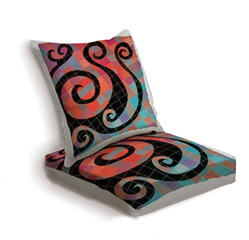 2-Piece Outdoor Deep Seat Cushion Set Vector illustration of colorful orange blue abstract spiral checkers Back Seat Lounge Chair Conversation Cushion for Patio Furniture Replacement Seating Cushion