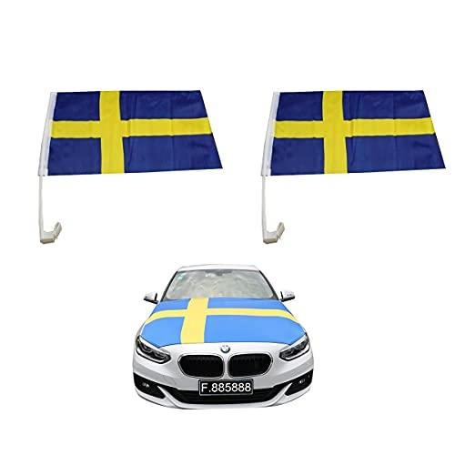 Sonia Originelli Aut-Fan-Paket EM Schweden Sweden Fußball Flaggen Außenspiegel 3D Magnet Motorhaubenüberzug Größe Fan-Set-10-XL