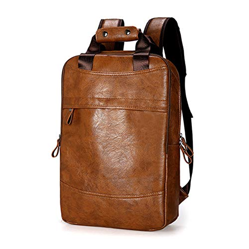 PU Leather Backpack for Mens Business Travel Backpacks Waterproof Leather Backpack Large Capacity Travel Bag Schoolbag - brown - 10.62x3.93x16.92