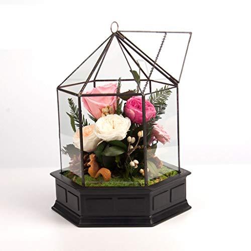 Hkwshop Eeuwige bloem eeuwige bloemen ijzeren geschenkdoos glazen pot Rose Kerstmis verjaardagscadeau Home Decoration permanente bloem