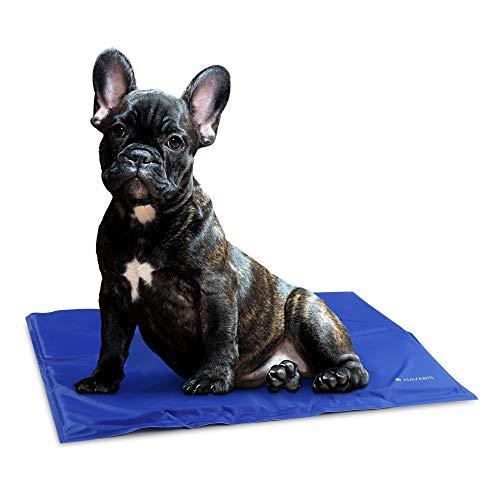 Navaris Tappeto rinfrescante per Cani Gatti - Tappetino refrigerante per Animali per la Regolazione della Temperatura corporea - 40X50cm Blu Scuro