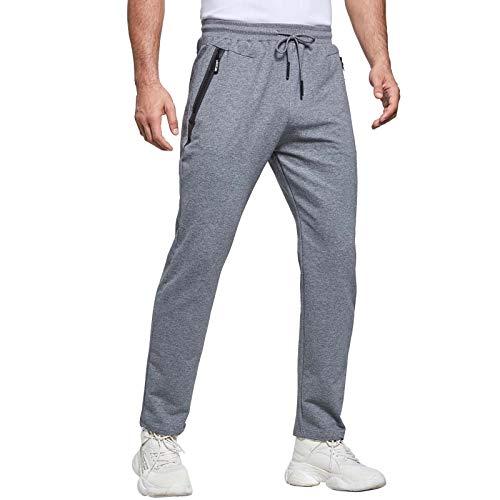 JustSun Jogginghose Herren Trainingshose Sporthose Herren Lang Baumwolle Fitness Hosen Herren Reissverschluss Taschen Grau L