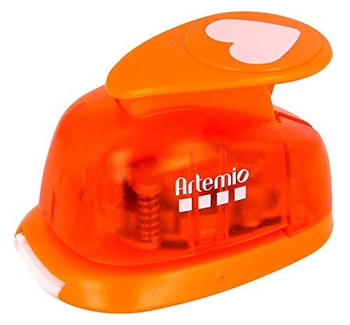Artemio 2,5 cm groot hart nummer 1 hendel punch, oranje