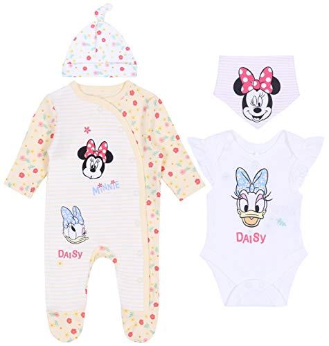 sarcia.eu Set bébé Jaune et Blanc à Fleurs et à Rayures Minnie Mouse, Daisy 0-2 Mois