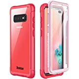 Samsung Galaxy S10 Plus Case,Temdan Built-in Screen Protector with Fingerprint Hole Full Body Protect Support Wireless Charging,Heavy Duty Dropproof Case for Samsung Galaxy S10 Plus 6.4 inch (Pink)