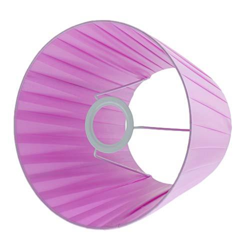 F Fityle Pantalla Plisada de Lámpara de Mesa de Noche Redonda para Cabezal E27 - Violeta