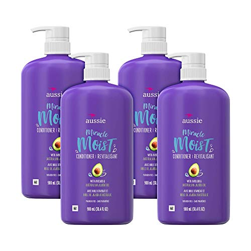 Aussie For Dry Hair Paraben-Free Miracle Moist Conditioner With Avocado & Jojoba, 30.4 Fluid Ounce (Pack of 4)