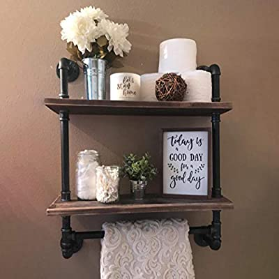 """Industrial Pipe Shelf,Rustic Wall Shelf with Towel Bar,24"""" Towel Racks for Bathroom,2 Tiered Pipe Shelves Wood Shelf Shelving - 【Retro Style】:Iron pipes and reclaimed real wood composition in vintage style.Storage and decorations.It can also be used outdoors. 【Size】:Length24"""" x Height29.13"""" x Deep9.84"""".Wood: Length24"""" x Depth 9.84"""" x Thickness 0.78''. 【Multi-functional】:The floating shelves are versatile, such as bathroom accessories, towel holder, bookcase, spice racks. - wall-shelves, living-room-furniture, living-room - 41eMzSKKxmL. SS400  -"""