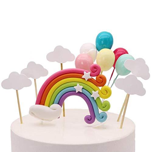 Kalaokei - Decoración para tarta de cumpleaños para niños y niñas, diseño de arco iris, Cerámica suave, Rainbow