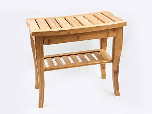 Bamboo Shower Bench Seat with Storage Shelf,Shower Spa Seat,Bench for Indoor Or Outdoor,Corner Shower Stool
